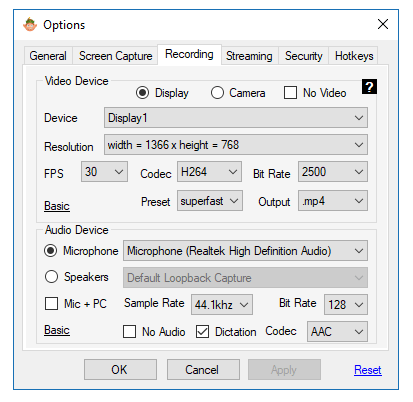 screen recording advanced settings